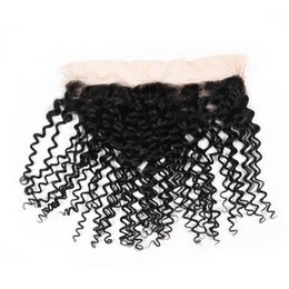 Lace Frontal Cheap Bundles UK - Cheap Kinky Curly Lace Frontal Closure 13x4 Brazilian Hair Hand Tied Swiss Lace 8A Unprocessed Lace Frontal Closure Bundles Natural Black