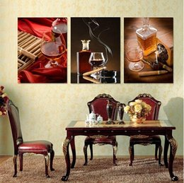 $enCountryForm.capitalKeyWord NZ - 3 Panels Modern Living Room Wine Cigar wall art Painting Decorative Combination Paint Picture Canvas Print Contemporary
