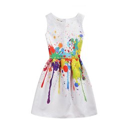 Chinese Pageant Dresses NZ - Baby Kids Clothing Girls' Dresses vintage Dobby sleeveless ball gown flower girl dresses Summer Printed party gowns pageant dress #DNS072