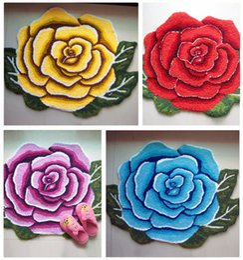 Rose Flower Shaped Rugs Flower Door Carpet Entry Mat Cute Carpet Door Floor  Mat Tapis Alfombras 80*60cm Free Shipping
