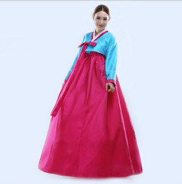 Red Leather Dresses UK - Q228 2016 New Arrive Fashion Korean Hanbok Traditional Korean Dresses Korean Dance Costumes Free Shipping