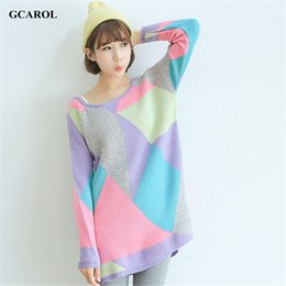 Vente En Gros Des Vêtements De Tricot Extensible Pas Cher-Grossiste-Femmes Colorfull Geometric Long Sweater Tricot Pullovers Stretch Oversized Knitted Tops Girl's Printemps Automne Hiver Vêtements