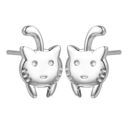 baby charm 925 NZ - 5 pairs lot Christmas Gifts Cute Cat Stud Earrings Baby Love Animal 925 Sterling Silver Jewelry Women Vintage Accessories