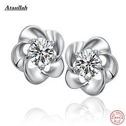 Venta al por mayor de Moda 925 aretes de plata esterlina para las mujeres joyería fina del encanto de la flor de plata 925 marca Ataullah EWS316