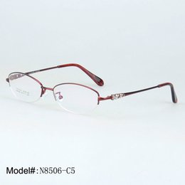 f8d9097c64 eyeglass frames crystal 2019 - Wholesale- 8506 woman s crystal designed  half rim prescription eyewear hyperopia