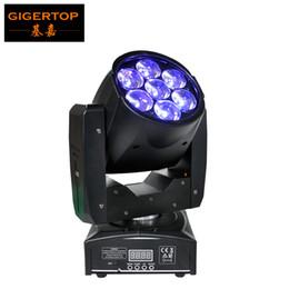 TIPTOP 1 UNIDS 95 W LED Cabeza Móvil Zoom Luz Mini Tamaño 7 * 12 W Alta Potencia RGBW 4IN1 Mezcla de Color DMX 16 Canales Zoom led luz de escenario en venta