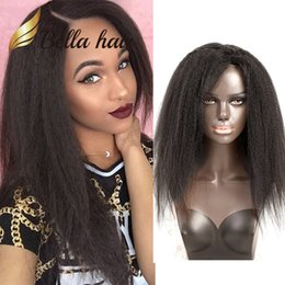 Discount virgin hair hairlines - Kinky Straight Full Lace Wig with Clips in Natural Hairline with Baby Hair Peruvian Virgin Human Hair Dyeable Black Colo