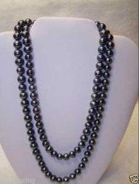 Großhandel 14K Verschluss + 8-9mm Tahitian Black Pearl Halskette 48inch