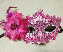 Discount make princess mask - Venetian new side flower lace mask princess half face make-up dance performance eye mask Halloween mask