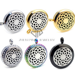 $enCountryForm.capitalKeyWord NZ - New Round Silver Lotus Flower (20- 30mm) Essential Oils Stainless Steel with Chain Necklace Perfume Diffuser Aromatherapy Locket Necklace