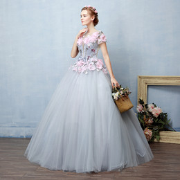 victorian short dress costume Canada - 100%real fairy grey pink flowers fairy cosplay ball gown royal princess Medieval Renaissance Victorian dress Belle ball