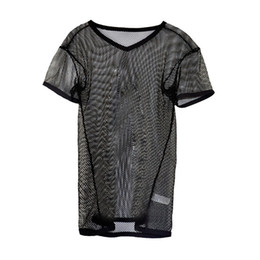 Scène Transparente Sexy Pas Cher-Accueil Bar Nightclub Sexy Hot Gay Undershirts Grille Vêtements T-shirt respirant Transparent Stage Body Show
