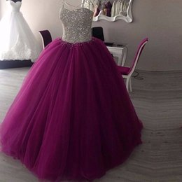 Longues Bouffées De Soirée Pas Cher-Sparkly Sweetheart Beaded Ball Gown Robes de bal 2017 Real Picture Tulle Longueur au sol Sans manches Puffy Long Prom Dress