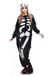 Flannel Hoodie UK - 2017 Unicorn Skull Skeleton Unisex Flannel Hoodie Pajamas Anime Costumes Cosplay Animal Kigurumi Onesies Sleepwear Costume One Piece Pajamas