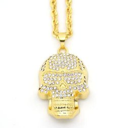 wheat chain filled UK - 18k Gold Plated Hip Hop Necklace Skull Head Fully CZ Pendant Wheat Chain
