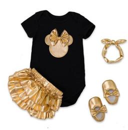 $enCountryForm.capitalKeyWord Australia - Baby Girl Clothes 4pcs Clothing Sets Black Cotton Rompers Golden Ruffle Bloomers Shorts Shoes Headband Newborn Clothes