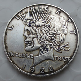 two face coin UK - US Head-To-Head Two Face 1921 1922 Peace Dollar skull zombie skeleton hand carved Copy Coins