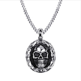 bike chain necklace men Canada - Mens Bike Necklaces Stainless Steel Vintage Skull Motorbike Chain Pendant Necklace for Men Boy Punk Style Jewelry PN-706
