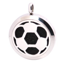 american oil UK - 10pcs Football Aromatherapy Essential Oil surgical Stainless Steel Pendant Neckalce Pendant Diffuser Locket