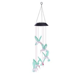 Wholesale  Hot Fashion Solar Color Changing Wind Chime Light Led Solar  Light Outdoor Hummingbird Wind Chimes Home Garden Decor Solar Light