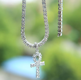 Chain tennis online shopping - Hip hop cross pendant necklace for men jewelry with gold white gold plated tennis chain necklace jewelry