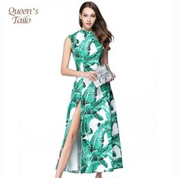 Barato Vestido Furcal-Queen's Tailo Qualified Vintage Woman Green Leaves Prisioneiro de mão Furcal High Waist Party Dress Longo 3209 q170661