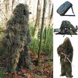 Discount full hunting camouflage clothing - Free Shipping 5pcs set Woodland Yowie Camo Camouflage 3D Ghillie Suit Hunting Archery Shooting Sniper Clothing