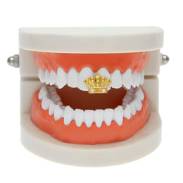 White Gold Grillz Canada - New Silver Gold Plated Crown shape Crystal Hip Hop Single Teeth Grillz Cap Top & Bottom Grill for Halloween Party Jewelry