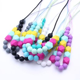 Baby Teething Silicone Canada - Fashion 100% BPA Free Food Grade DIY Silicone Baby Chew Beads Teething Necklace Wholesale Nursing Jewelry Teether for Mom Mommy to Wear