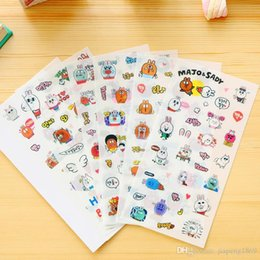 Wholesale Notebook Exercise Books Canada - Lovely Cartoon Rabbits Diy Decorative Stickers for Diary Scrapbooking Planner Notebook Photo Album Exercise Book, 6sheets pack
