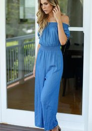 Barato Cintura Natural Sem Alças-Mulheres Jumpsuits Straight Pants Europe And America Strapless Coletar Waist Straight Pants Slash Neck Jumpsuits