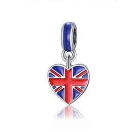 Uk Charm UK - Wholesale 30pcs Silver Charm Beads Union Jack Patriotic Proud To Be British Flag Country Of Uk Map Lucky Bead Fit Diy Bracelets & Necklace
