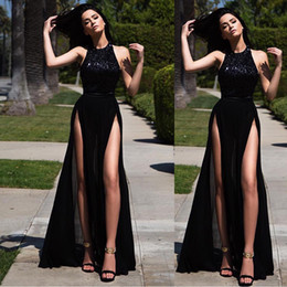Robes Longues Hautes Fentes Pas Cher-2018 New Black Sexy Summmer longues robes de soirée Cuisse-High Slits Party Robes Cheap Floor Length Prom Dresses Wear