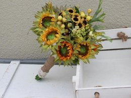 2017 sunflowers bouquet de mariage handmade flowers wedding bouquets artifical roses bridal bridesmaid bouquets wedding flowers