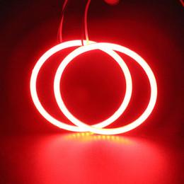 Venta al por mayor de Error gratis 1 par Ultra brillante faro rojo LED Angel Eyes COB bulbo Halo anillo de luz de la lámpara 12 / 24V reemplazo CCFL