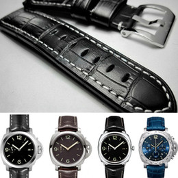 panerai watch band strap 22mm 2019 - 22mm 24mm 26mm Genuine Leather Waterproof Straps Watchband Leather straps for Panerai Watch Man Watchband Thick +Free To