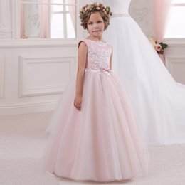 Comunion Dresses NZ - 2019 Cute Pink Flower Girl Dresses Girl Appliqued With Bow Tulle Girl Pageant Gowns First Comunion Dress Ball Gowns