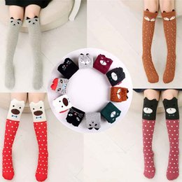 Barato Joelho Meias Longas Crianças-Desenhos animados Crianças Meias Printed Animal Cute Cotton Kids Sock Knee High Long Fox Baby Girl Socks Vestuário Acessórios