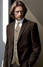 Smoking marrone di alta qualità Smoking dello sposo Notch bavero dello sposo Groomsmen Best Man Abiti da sposa uomo Bridegroom (Jacket + Pants + Vest + Tie) NO: 205