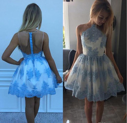 Barato Junior Mais Barato-Blue Lace Short Homecoming Vestidos para Juniors 2017 Cheap Plus Size árabe Graduation Prom Gown Sexy A Line Mini Sheer Cocktail Party Dress