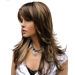 Discount highlight cap 2017 highlight cap on sale at dhgate long layered brown highlights classic cap full synthetic wig womens wigs highlight cap promotion pmusecretfo Images
