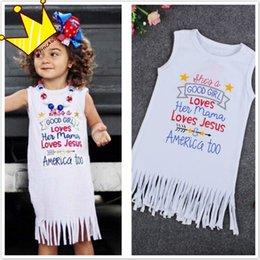 Girls Tassel Shirt Canada - Summer Girls Sleeveless Tassels Vest Dress Children Kids Letter Printed Shirts Dresses Princess Toddlers White Dress Clothing Wear Sundress