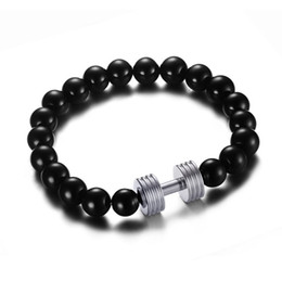 black gold agates NZ - Stainless Steel Dumbbell Bracelet with Black Agate Beads Chain - Silver, Gold, Rose Gold