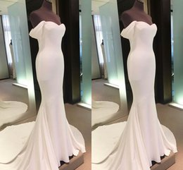 Barato Vestidos De Noiva Simples E Sexy-Elegant Long Formal Mermaid Prom Dresses Simples fora do ombro Vestido Sexy Prom Dress Evening Party Vestidos com Tribunal Train