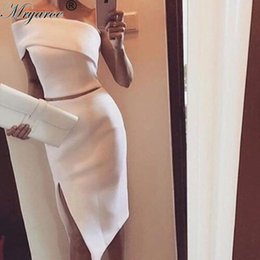 Tenue De Bal De Deux Pièces Pas Cher-One One Shoulder White Midi Robe de cocktail à deux pièces Women Stylish Slit Formal Events Outfits Short Mermaid Prom Robes formelles d'occasion