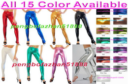 shiny zentai dressing Australia - Unisex Trousers Pants Sexy Tight Pants Trousers 15 Color Shiny Lycra Metallic Pants Trousers Halloween Party Fancy Dress Cosplay Suit P116