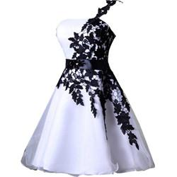 eee4e8cfe6e 2018 Cheap Short Homecoming Dresses White and Black One Shoulder Lace Belt  Beaded Tulle Gowns for Prom Cocktail 8th College Graduation Dress