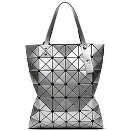 geometric fold tote bag Canada - Foldable Geometric Split Joint Plaid Totes Bao Bao Big Sequins Top Handle Bag Diamond Lattice Ladies Designer Handbag Purse Cube Tote Purse