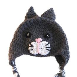 $enCountryForm.capitalKeyWord UK - Novelty Kitty Cat Hat,Handmade Knit Crochet Baby Boy Girl Gray Aniaml Earflap Hat,Children Winter Cap,Infant Toddler Photo Prop