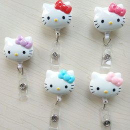 RetRactable Reels clips online shopping - 5pcs Cute Cartoon KT Cat Retractable Badge Reel Pull ID Card Badge Holder Belt Clip Hospital School Office